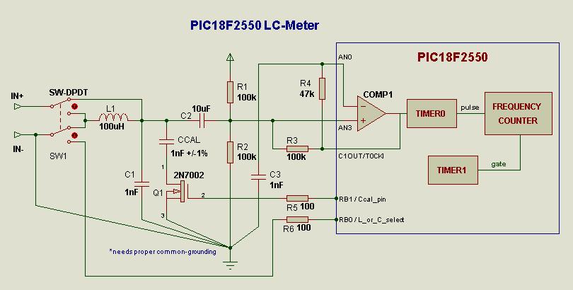 Функциональная схема с использованием встроенного аналогового компаратора и таймера МК PIC18.