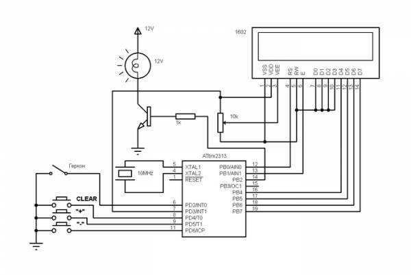 ...знакосинтезирующий 1 или 2 строки по 16 символов Схема велоспидометра на микроконтроллере.